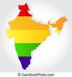 Rainbow flag in contour of India