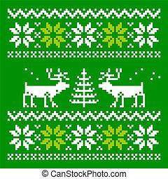 Knitted scandinavian scarf with deer - Scandinavian ornament...
