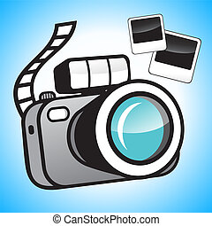Camera and photos - Camera and film on a blue background