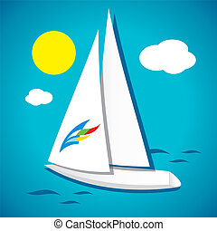 White yacht in the sea - White sea sailing ship sailing in...