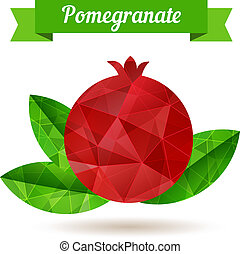 Pomegranate, vector illustration. Made with polygons like a...