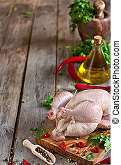 Raw chicken background - Raw chicken with spices and...