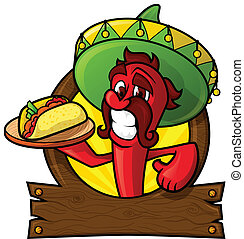 Cheesy Chili - Character pepper on a signboard with tacos....