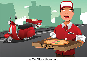 Man delivering pizza - A vector illustration of man...