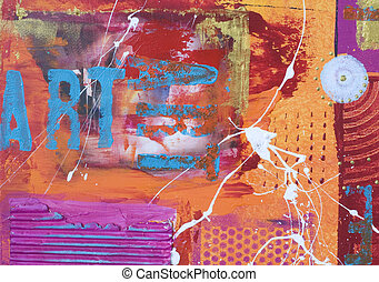abstract painting - abstract painted background with text,...