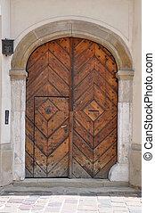 Ancient wooden brown door
