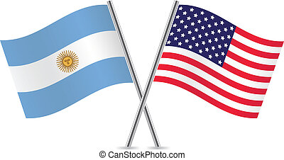 USA and Argentina Flags. Vector illustration.