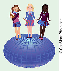 Back to school. Little school girls and globe, vector...