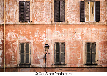 Wall of the Renaissance building in Rome Italy. Background...