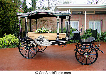 clássicas, funeral, carruagem, caixão