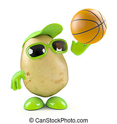3d Potato shoots the basketball - 3d render of a potato...