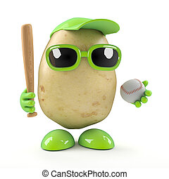 3d Potato plays baseball - 3d render of a potato holding a...