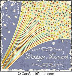 Vintage fireworks poster design. Retro flyer. Vector...