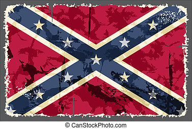 Confederate grunge flag Vector illustration Grunge effect...