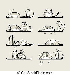 Funny cats on shelves for your design