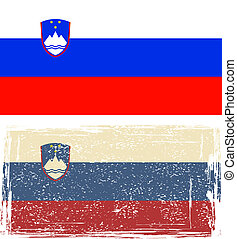 Slovenian grunge flag. Vector illustration. Grunge effect...