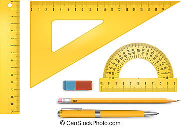Ruler instruments - Yellow plastic ruler instruments and...