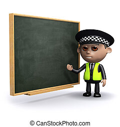 3d Police officer at the chalkboard - 3d render of a police...