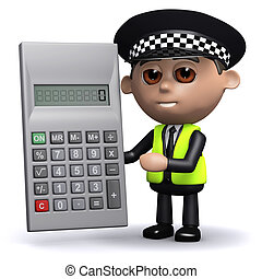 3d Police officer has a calculator - 3d render of a police...