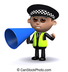 3d Police officer uses a megaphone - 3d render of a police...