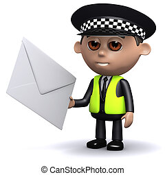 3d Police officer has mail - 3d render of a police officer...