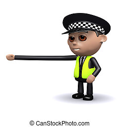 3d Police officer reaches out - 3d render of a police...