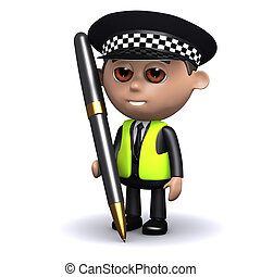 3d Police officer with a pen - 3d render of a police officer...
