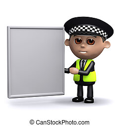 3d Police officer with a blank banner - 3d render of a...