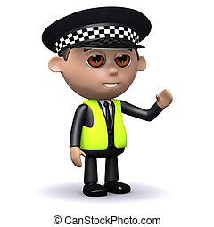 3d Police officer waves hello - 3d render of a police...