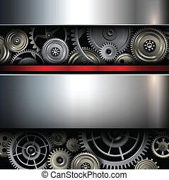 Background metallic with technology gears, vector...