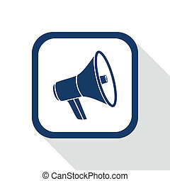 megaphone flat icon - square blue icon megaphone with long...