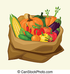 Illustration of stylized sack with fresh ripe vegetables