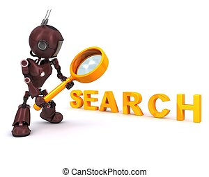 Android searching with magnifying glass - 3D Render of an...