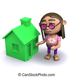 3d Hippie has a green house - 3d render of a hippy next to a...