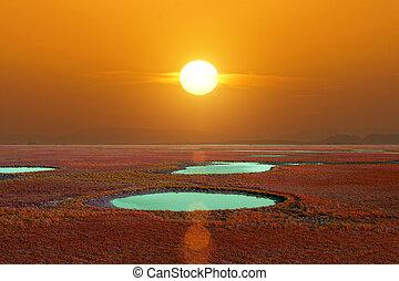 Sunset sky and big sun, Thailand
