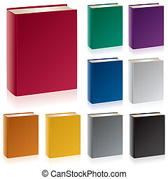 Books - A group of hardcover books in traditional colors...