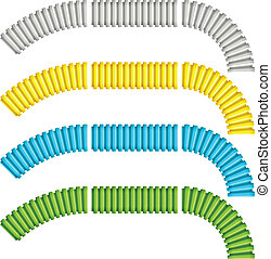 vector colored corrugated flexible tubes