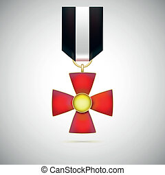 Red Cross, illustration of a military medal of bravery,...