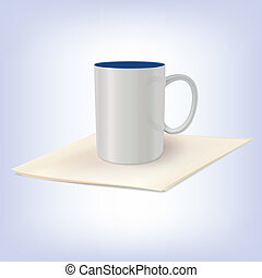 White ceramic cup standing on a napkin Template for your...