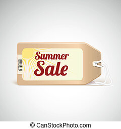 Summer sale tag. Vector price tag with a barcode.