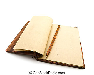 notebook - open notebook with pen in ancient style