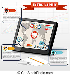 Isometric business social infographics people PC tablet partnership icon on graph 3d world map background vector illustration