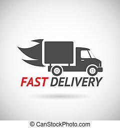Fast Delivery Symbol Shipping Truck Silhouette Icon Design...