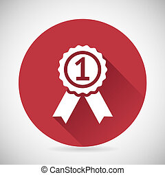 Victory Prize Award Symbol Badge With Ribbons Silhouette...