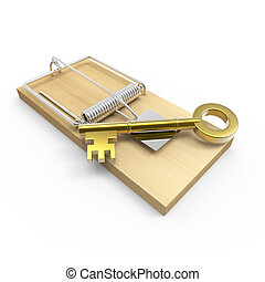 3d Gold key on a mousetrap - 3d render of a mousetrap with a...