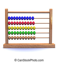 3d Abacus - 3d render of a wooden abacus