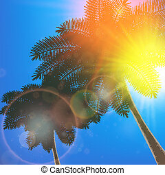 Palm trees and sun in sky.