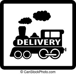 train delivery icon - black train on white background and...