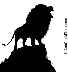 Lion roar - Editable vector silhouette of a roaring male...