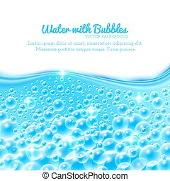 Shining Water Background with Bubbles - Shining Underwater...